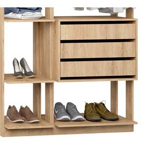 Closet 03 Gavetas Clothes 9004 Carvalho Mel Be Mobiliario
