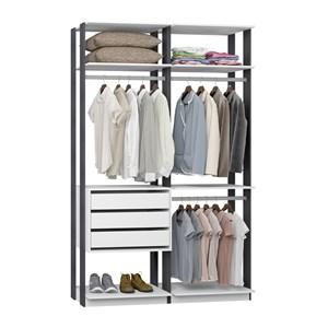 Closet 03 Gavetas Clothes 9013 Branco Espresso Be Mobiliario