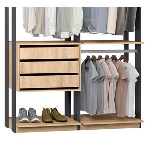 Closet 03 Gavetas Clothes 9013 Carvalho Mel Espresso Be Mobiliario