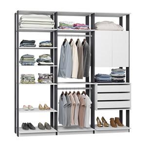 Closet 03 Gavetas E 02 Portas Clothes 9009 Branco Espresso Be Mobiliario