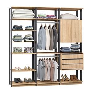 Closet 03 Gavetas E 02 Portas Clothes 9009 Carvalho Mel Espresso Be Mobiliario