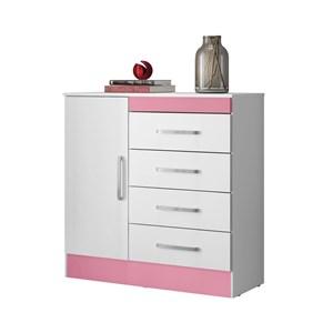 Comoda 04 Gavetas Montevideu Branco Rosa Flex Demobile