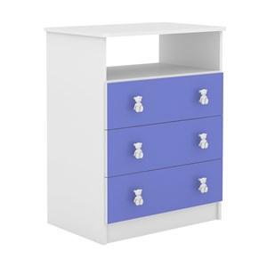 Comoda Infantil 03 Gavetas CM120 Branco Azul DJD Moveis