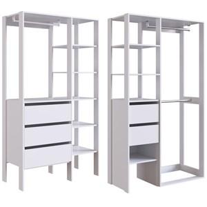 Conjunto 1 Para Closet 02 Modulos DB001 DB002 Branco PP Milani Store