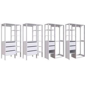 Conjunto 3 Para Closet 04 Modulos DB001 DB002 Branco PP Milani Store