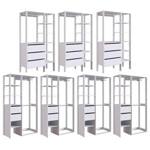 Conjunto 6 Para Closet 07 Modulos DB001 DB002 Branco PP Milani Store