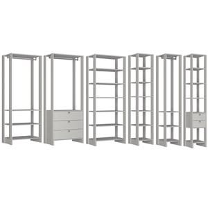 Conjunto Armarios Para Closet 6 Peças Yes EY101/2/3/4/5/6 Branco Nova Mobile