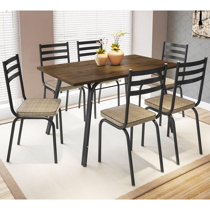 Conjunto De Mesa Lotus 136cm Preta Com 06 Cadeiras 118 Rattan