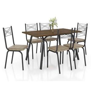 Conjunto De Mesa Lotus 136cm Preta Com 06 Cadeiras 119 Rattan