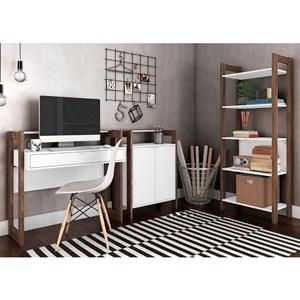 Conjunto Escritorio / Home Office 3 Peças AZ6 Branco Nogal Tecno Mobili