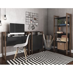 Conjunto Escritorio / Home Office 3 Peças AZ6 Preto Nogal Tecno Mobili