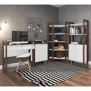 Conjunto Escritorio / Home Office 4 Peças AZ5 Branco Nogal Tecno Mobili