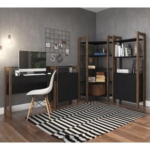 Conjunto Escritorio / Home Office 4 Peças AZ5 Preto Nogal Tecno Mobili