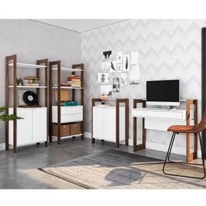 Conjunto Escritorio / Home Office 4 Peças AZ7 Branco Nogal Tecno Mobili
