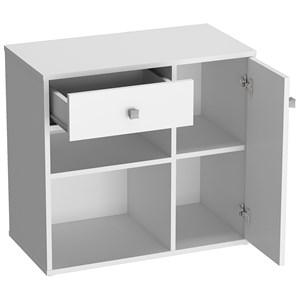 Conjunto Escrivaninha Com Armario Para Escritorio B32 Branco Nova Mobile