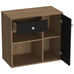 Conjunto Escrivaninha Com Armario Para Escritorio B32 Mel Preto Nova Mobile