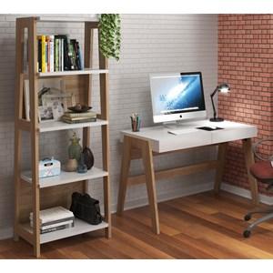 Conjunto Escrivaninha Com Estante 26108 Linha Trend Hanover Off White Artesano