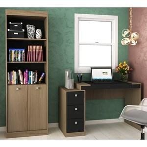 Conjunto Escrivaninha E Estante Para Escritório HO2956 Avelã/Onix Hecol