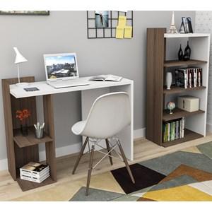 Conjunto Escrivaninha E Estante Sense Nogueira Branco APT Milani Store