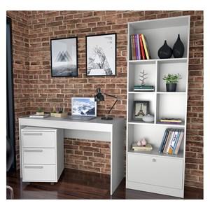 Conjunto Escrivaninha Livreiro E Gaveteiro B31 Branco Nova Mobile