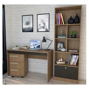 Conjunto Escrivaninha Livreiro E Gaveteiro B31 Mel Preto Nova Mobile