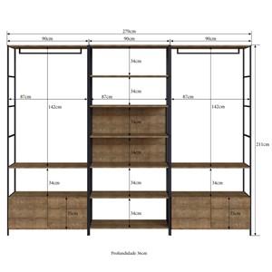 Conjunto Estantes Para Closet Steel Quadra 27803 Vermont Preto Fosco Artesano