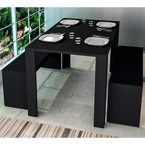 Conjunto Mesa de Jantar Com 02 Bancos Liv CON3600 Preto APT Milani Store