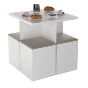 Conjunto Mesa de Jantar Com 04 Banquetas Bau CON1201 Branco Bege APT Milani Store