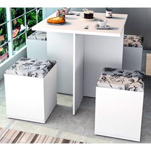 Conjunto Mesa de Jantar Com 04 Banquetas Bau CON1201 Branco Damasco APT Milani Store