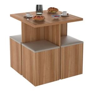 Conjunto Mesa de Jantar Com 04 Banquetas Bau CON1201 Castanho Bege APT Milani Store