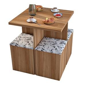 Conjunto Mesa de Jantar Com 04 Banquetas Bau CON1201 Castanho Damasco APT Milani Store
