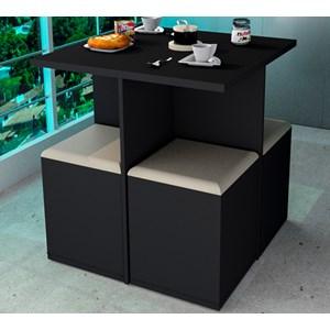 Conjunto Mesa de Jantar Com 04 Banquetas Bau CON1201 Preto Bege APT Milani Store