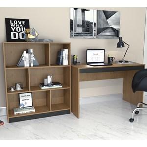 Conjunto Mesa Escrivaninha E Estante Gamer B28 Mel Preto Nova Mobile