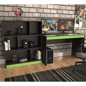 Conjunto Mesa Escrivaninha E Estante Gamer B28 Preto Verde Nova Mobile