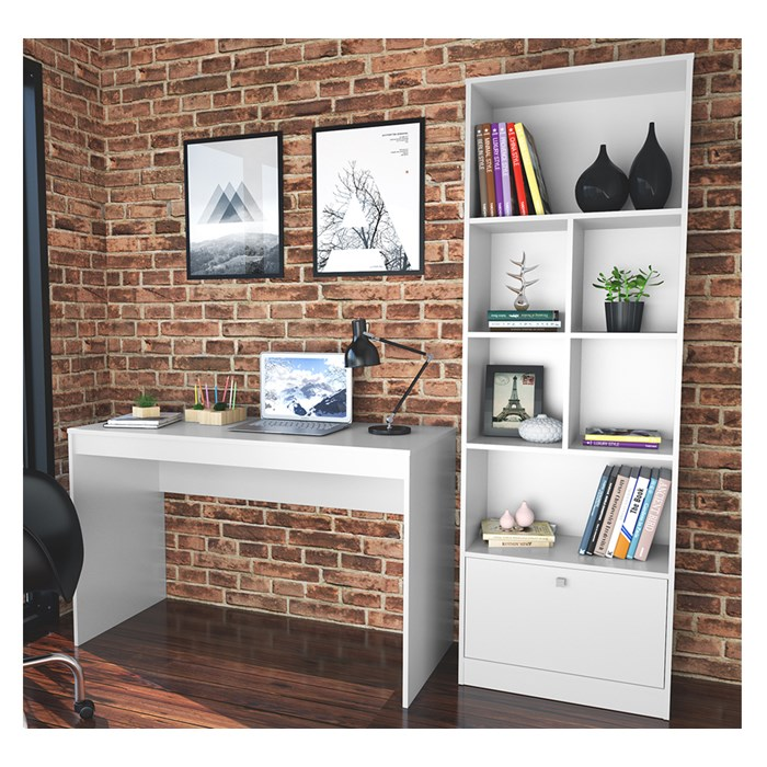 Conjunto Mesa Escrivaninha E Estante Livreiro B30 Branco Nova Mobile