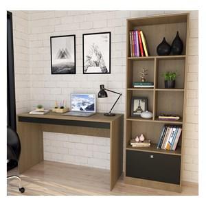 Conjunto Mesa Escrivaninha E Estante Livreiro B30 Mel Preto Nova Mobile