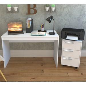 Conjunto Mesa Escrivaninha E Gaveteiro Gamer B29 Branco Nova Mobile