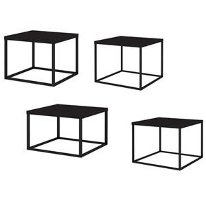Conjunto Mesas de Centro Cube 04 Peças 24806 Linha Complementos Preto Preto Artesano