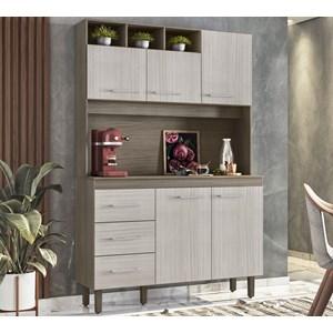 Cozinha Compacta 120cm 5 Portas Milao Malbec Avelã Peternella
