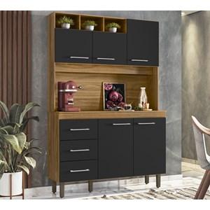 Cozinha Compacta 120cm 5 Portas Milao Nature Preto Peternella