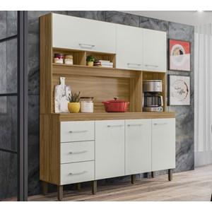 Cozinha Compacta 160cm 6 Portas Monaco Nature Off White Peternella