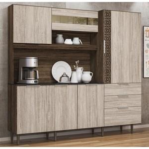 Cozinha Compacta 6 Portas New Space II Amendoa Arezzo Rust Nicioli