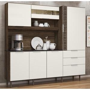 Cozinha Compacta 6 Portas New Space II Amendoa Rust Off White Nicioli