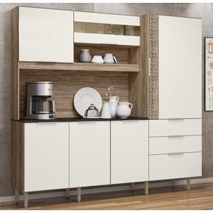 Cozinha Compacta 6 Portas New Space II Carvalho Rust Off White Nicioli