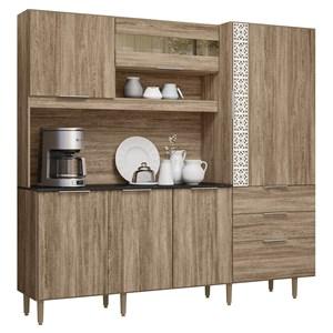 Cozinha Compacta 6 Portas New Space II Carvalho Rustico Nicioli