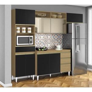 Cozinha Compacta Balcao Com Tampo Clara Atacama Preto ARM Milani Store