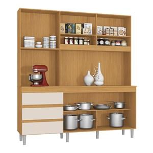 Cozinha Compacta Florença 04 Portas Cedro Champanhe INC Milani Store