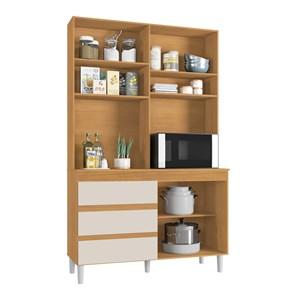 Cozinha Compacta Smart 03 Portas Cedro Champanhe INC Milani Store