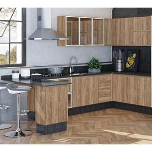 Cozinha Completa Modulada 09 Peças 100% MDF Kali Premium Carvalho Rustico Nicioli