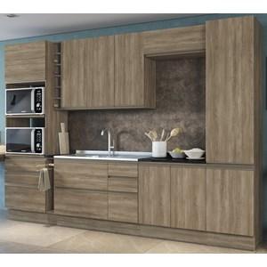 Cozinha Completa Modulada 10 Peças Maxxi 09 Nogal Preto Brilho Kappesberg